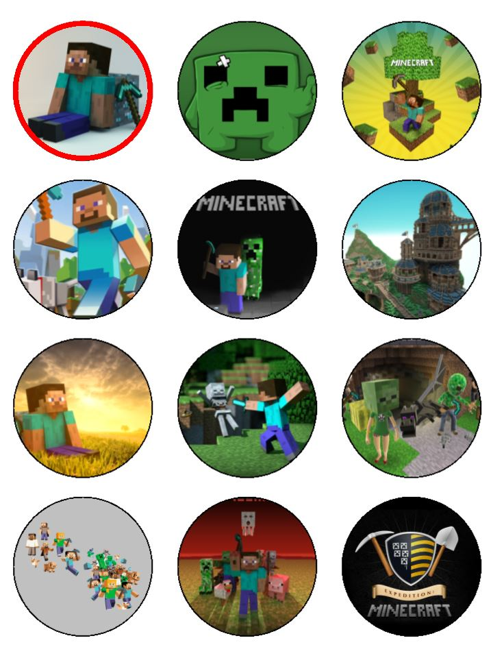 12 x Edible Icing Minecraft Cup Cake Toppers 21 inches each