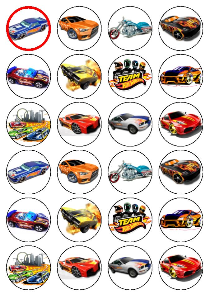 Edible Cake Decorations Cars : 24 Hot Wheels Cars Edible Wafer Paper Cup Cake Toppers