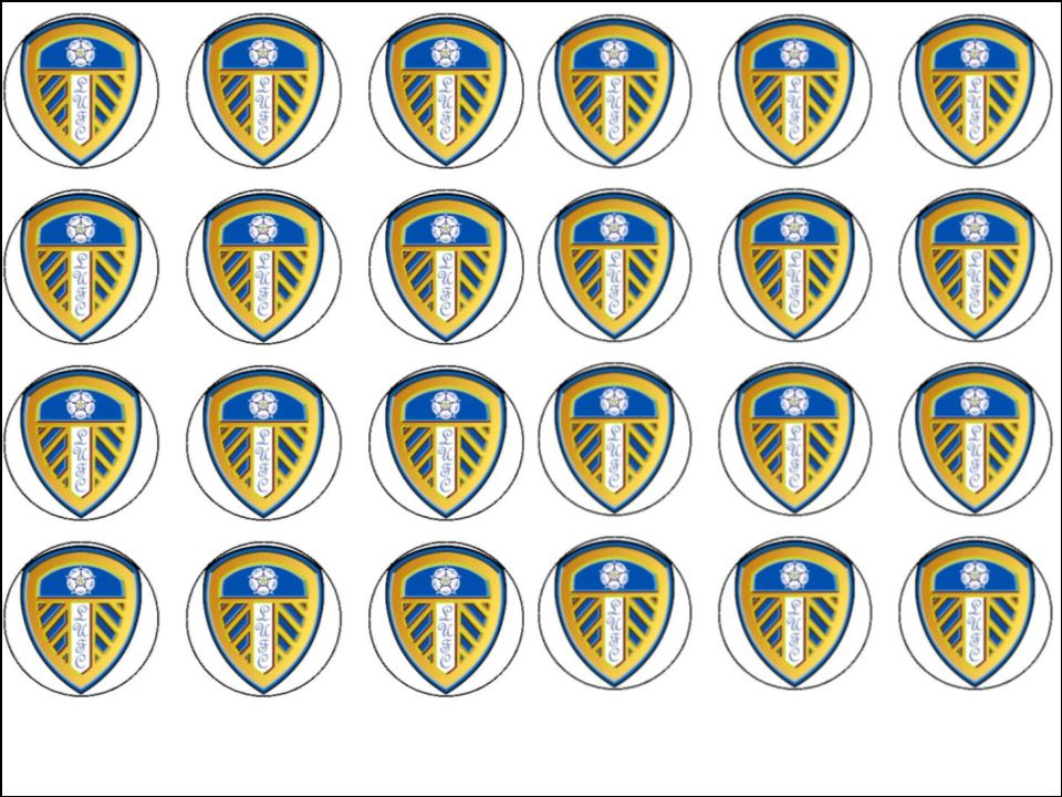 24 Leeds United Football Club Edible Wafer Rice Cup Cake ...