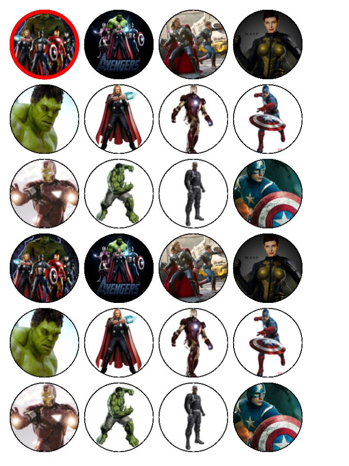 24xAvengers Assemble Edible Wafer Paper Cup Cake Top Toppers