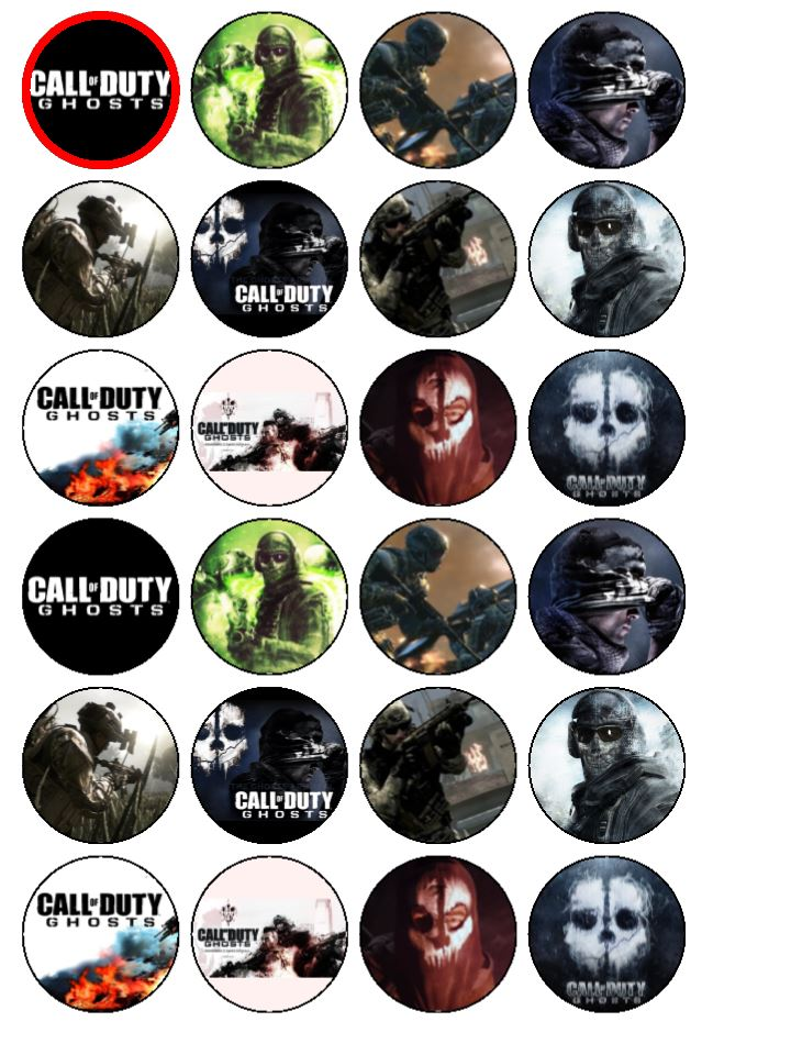 24 X Call Of Duty Ghosts Edible Rice Wafer Paper Bun Cup