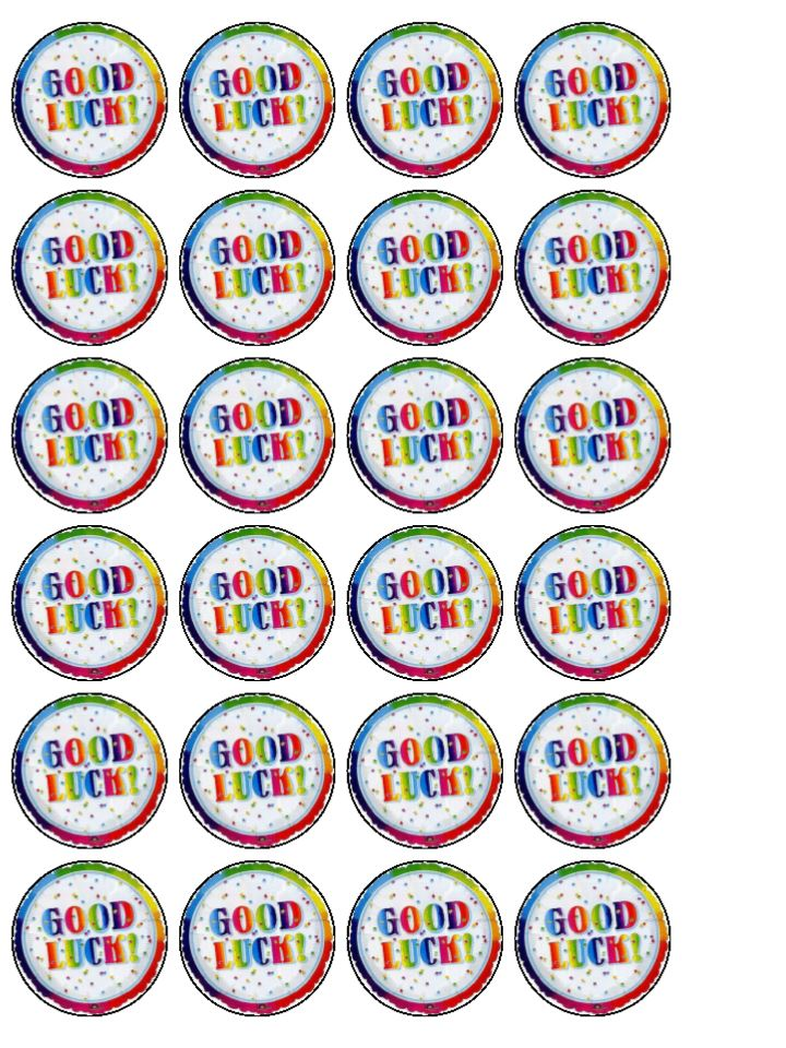 24 X Good Luck Goodbye Edible Wafer Rice Paper Cup Bun