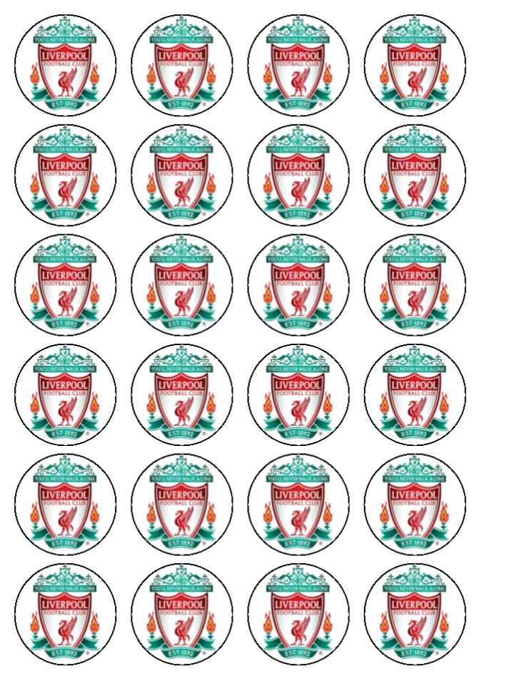 24 X Liverpool Fc Edible Wafer Paper Cup Cake Football Toppers