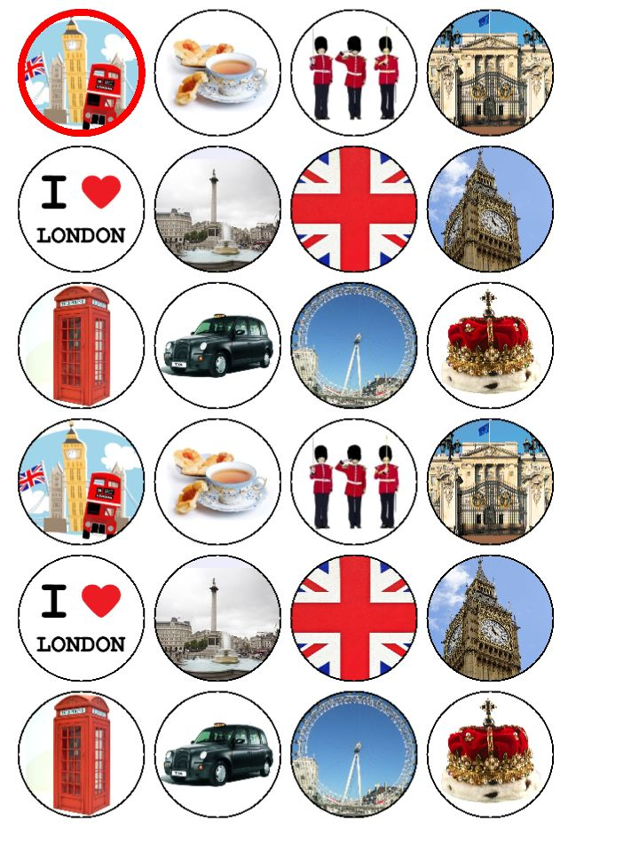 Cake Toppers Edible Uk : 24xLondon UK Britain England edible wafer paper cup cake ...