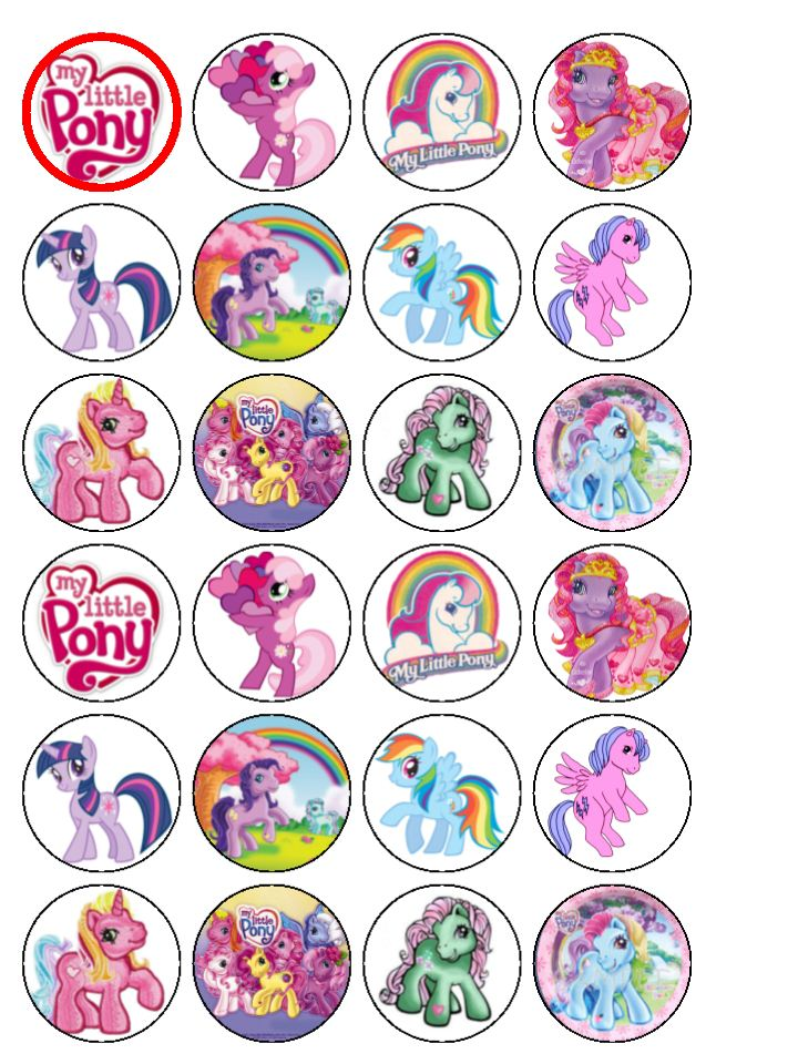 24 x My Little Pony Rice Wafer Paper Cake Bun Toppers New