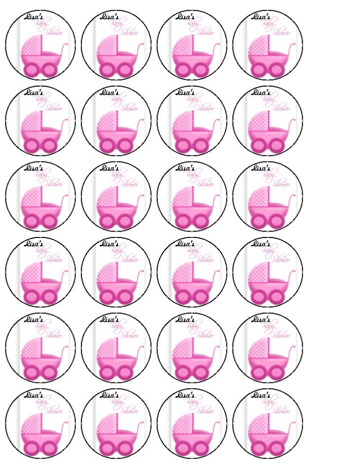 Cake Toppers For Baby Shower Uk : 24xPersonalised Girl Baby Shower Edible Wafer Rice Paper ...