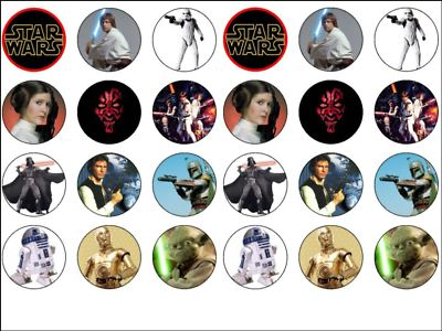 24 X Star Wars Edible Wafer Rice Paper Cup Cake Bun Top