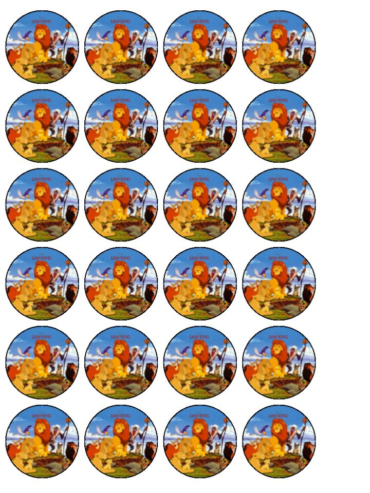 Cake Toppers Edible Uk : 24xThe Lion King Edible Wafer Paper Cup Cake Toppers
