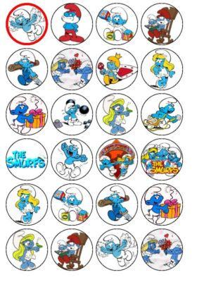 24 X The Smurfs Edible Wafer Rice Paper Cup Cake Bun Top