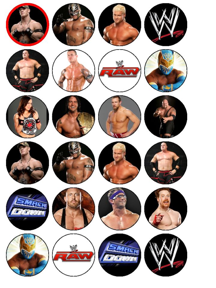 24 x WWE Wrestlers Wrestling Smackdown Edible Wafer Paper Cake Top