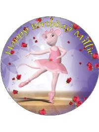 7 5 angelina ballerina edible icing or wafer birthday cake for Angelina ballerina edible cake topper decoration sale