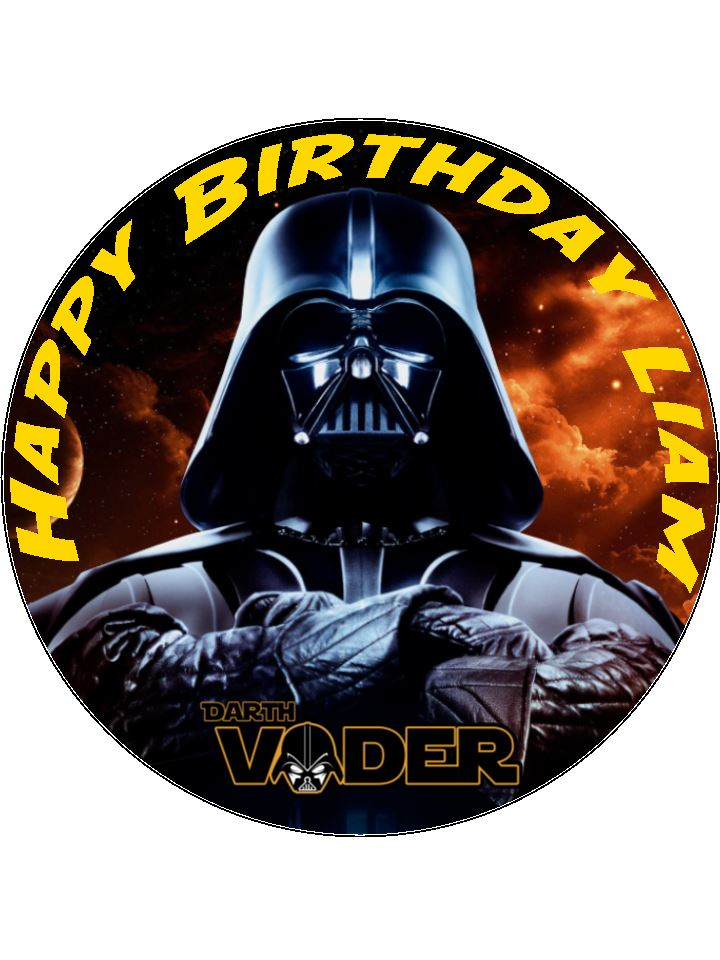 7.5 Darth Vader Star Wars Edible Icing or Wafer Paper Cake ...