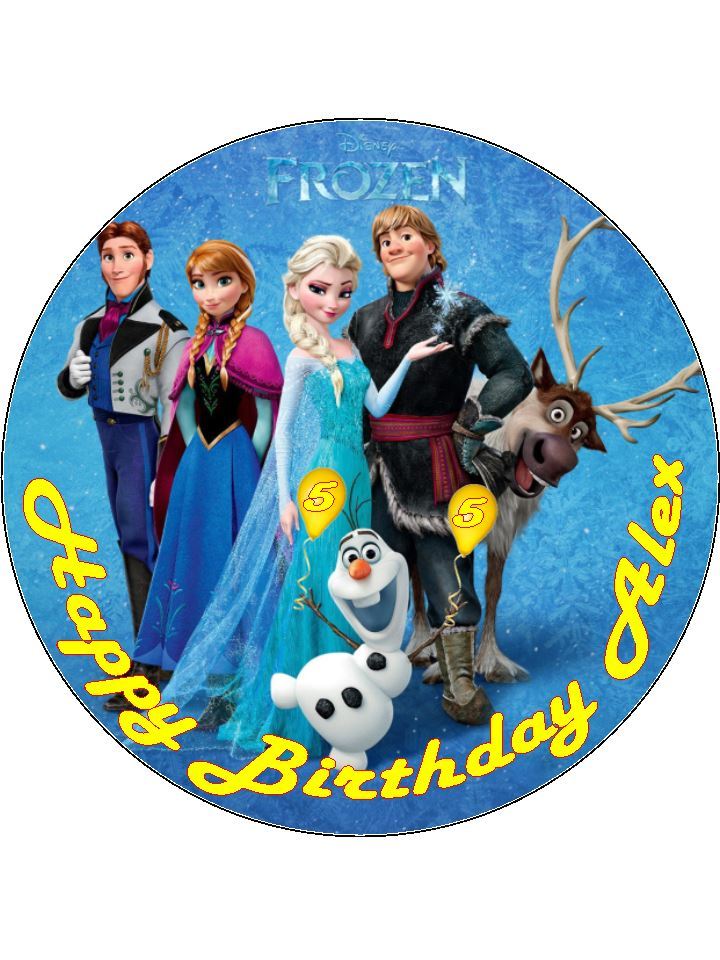 Disney Frozen With Age Balloons Edible Wafer or Icing Birthday Cake ...