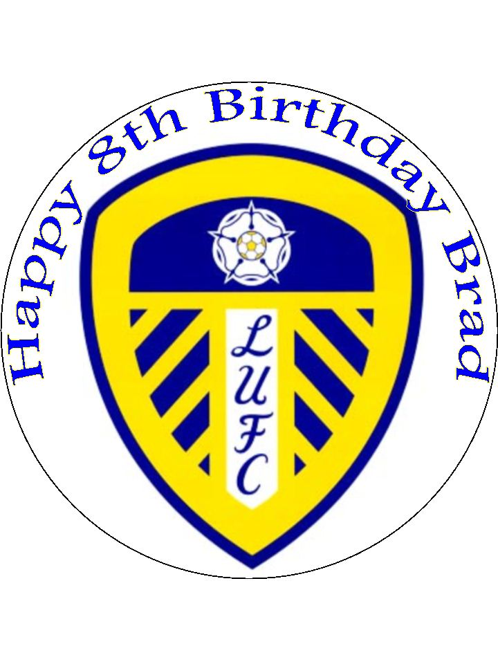 7.5 Leeds Utd Football Club edible icing or Wafer cake topper