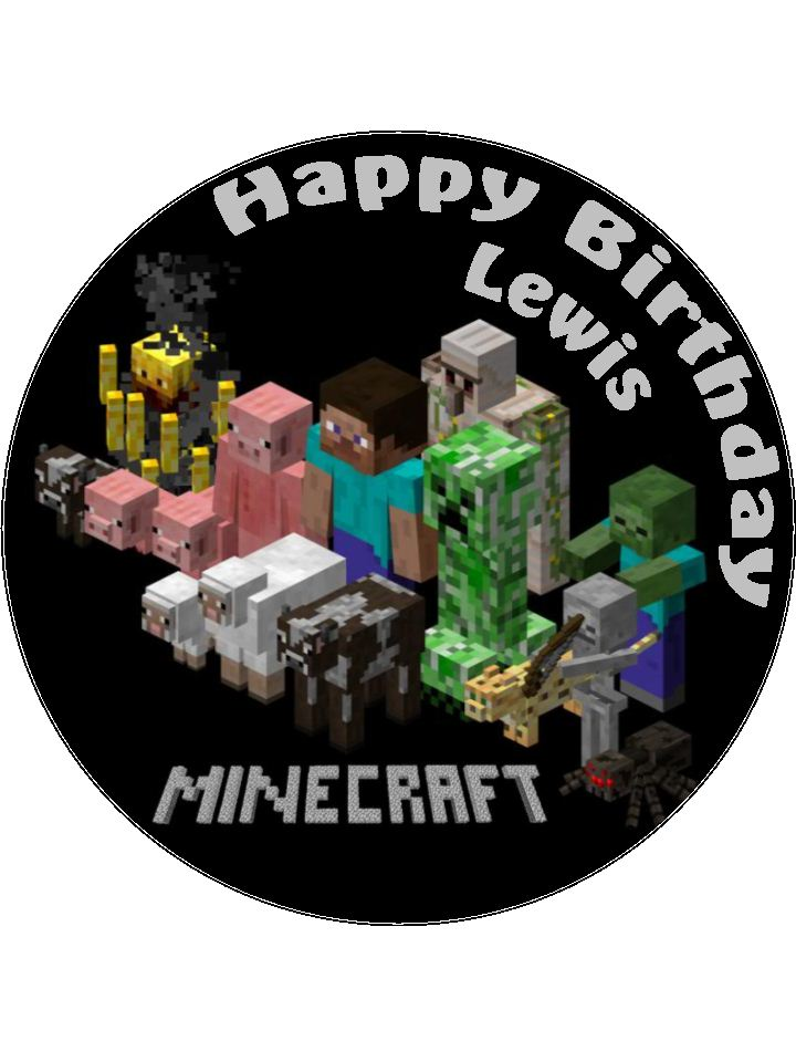Cake Toppers Edible Uk : 7.5 Minecraft Personalised Edible Icing or Wafer Paper ...