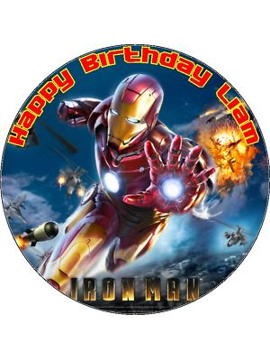 75 Personalised Iron Man Icing or Wafer Cake Topper New
