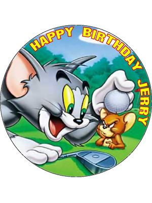 75 Personalised Tom Jerry Golf Icing or Wafer Cake Top Topper