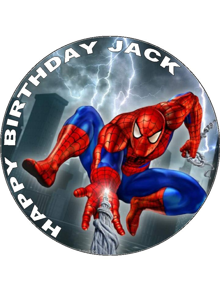 Spiderman Cake Decorations Uk : 7.5 Spiderman Personalised Edible Icing or Wafer Paper ...