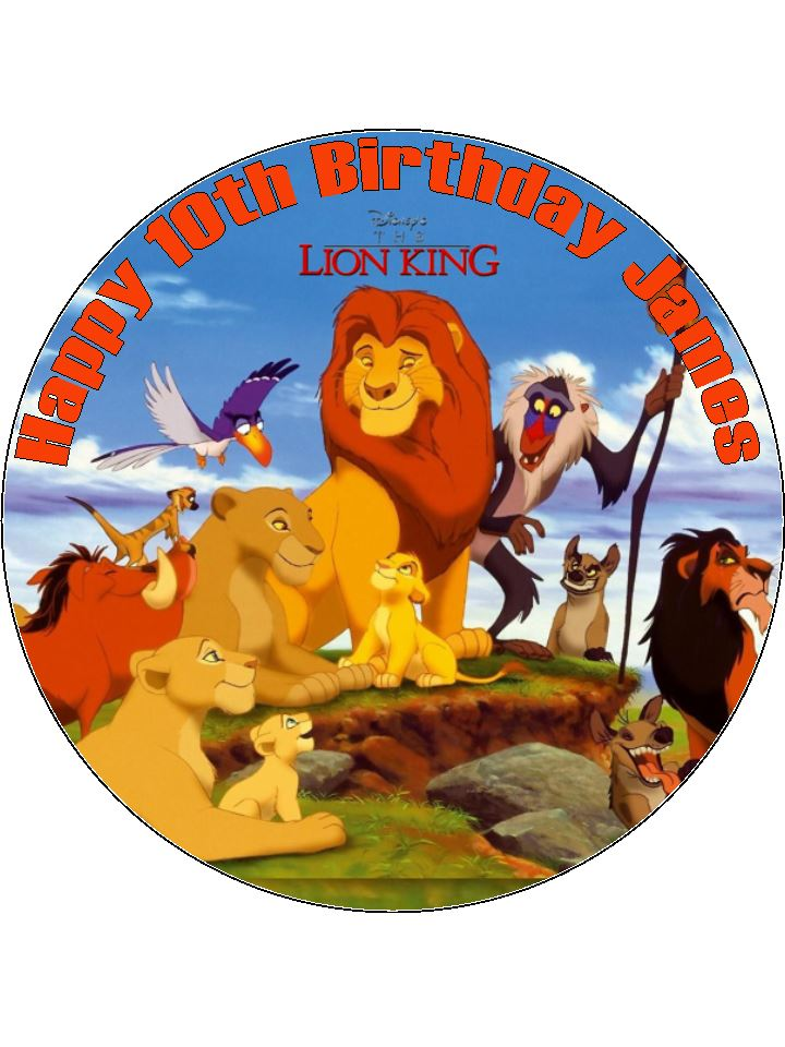 Edible Cake Images Lion King : 7.5 The Lion King Personalised Edible Icing or Wafer ...