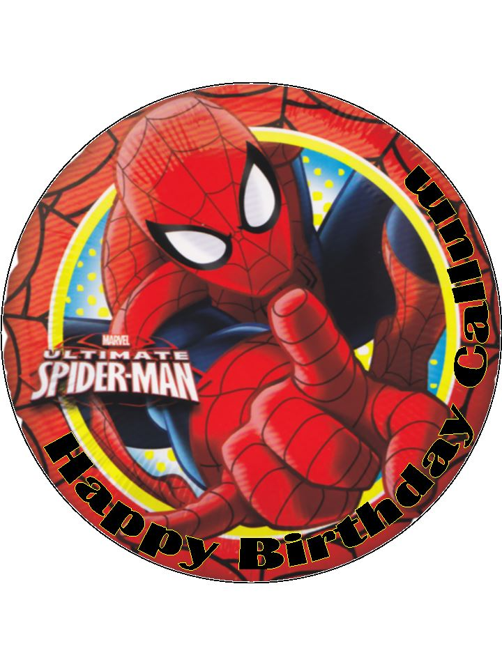 Spiderman Cake Decorations Uk : 7.5 Ultimate Spiderman Personalised Edible Icing or Wafer ...