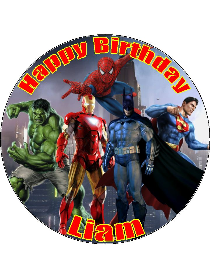 75 Superheroes Personalised Edible Icing or Wafer Paper Cake Top