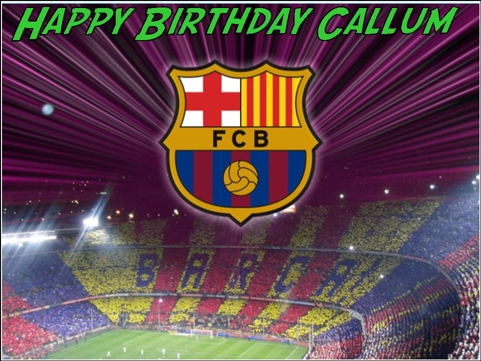 A4 Barcelona Football Club FC Edible Icing or Wafer Birthday Cake Topper