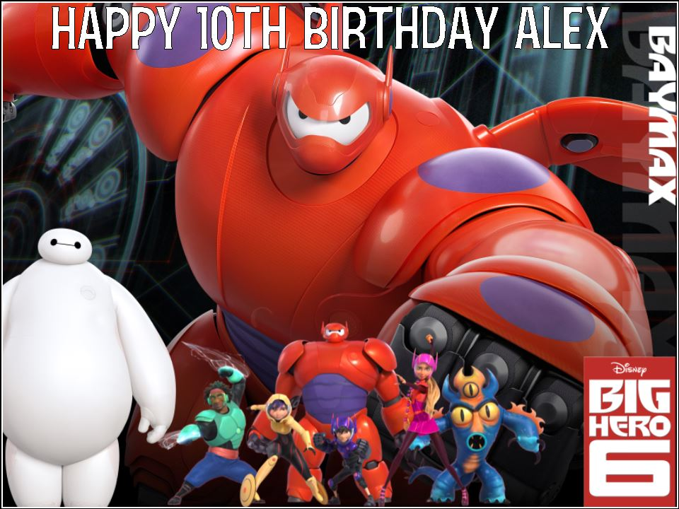 A4 Big Hero 6 Baymax Personalised Edible Icing or Wafer Birthday