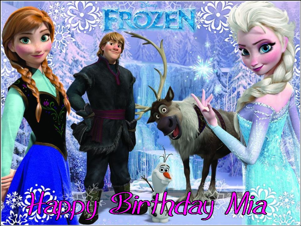 A4 Personalised Disney Frozen Edible Icing or Wafer Birthday Cake