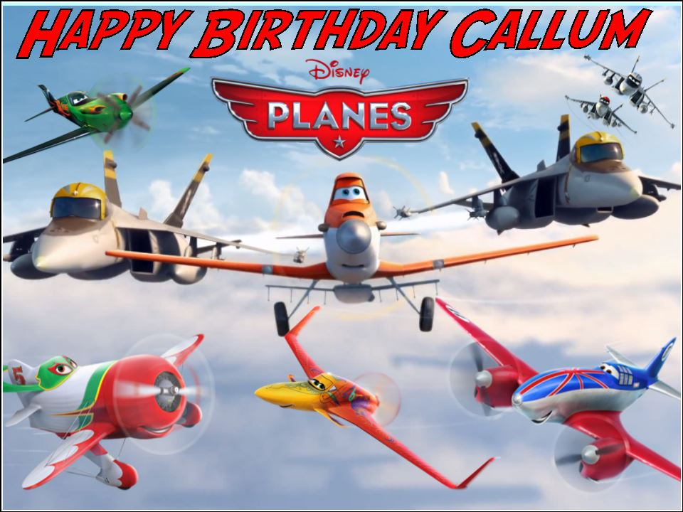 A4 Personalised Disney Planes Edible Icing or Wafer Birthday Cake Topper
