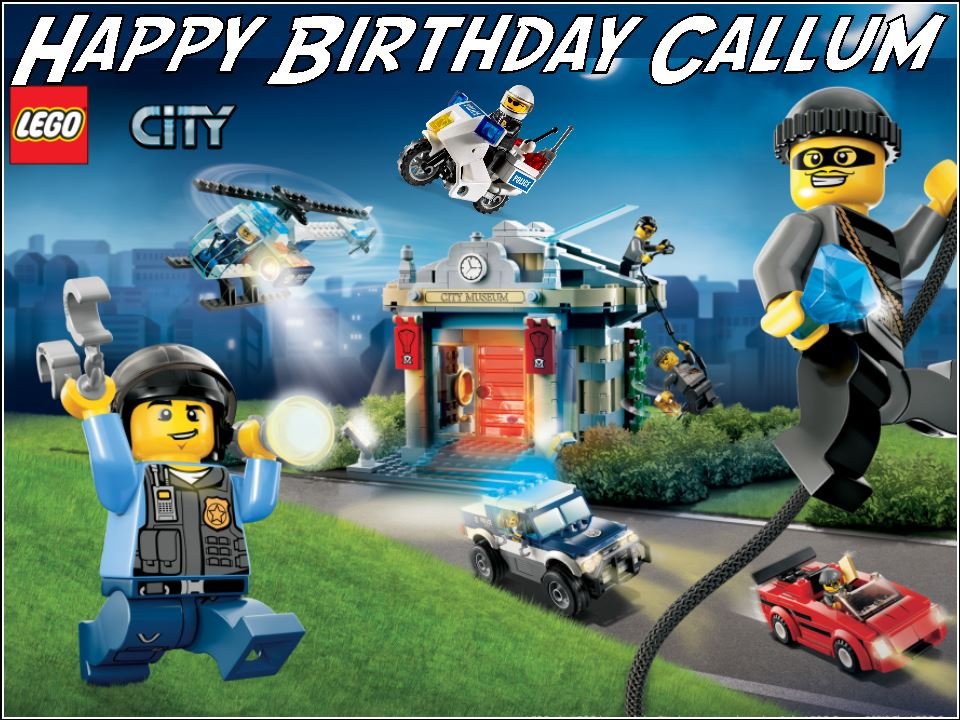 A4 Personalised Lego City Police Edible Icing or Wafer Birthday Cake ...