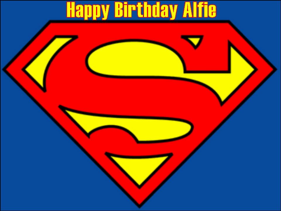 A4 superman logo edible icing or wafer birthday cake top for Superman logo template for cake