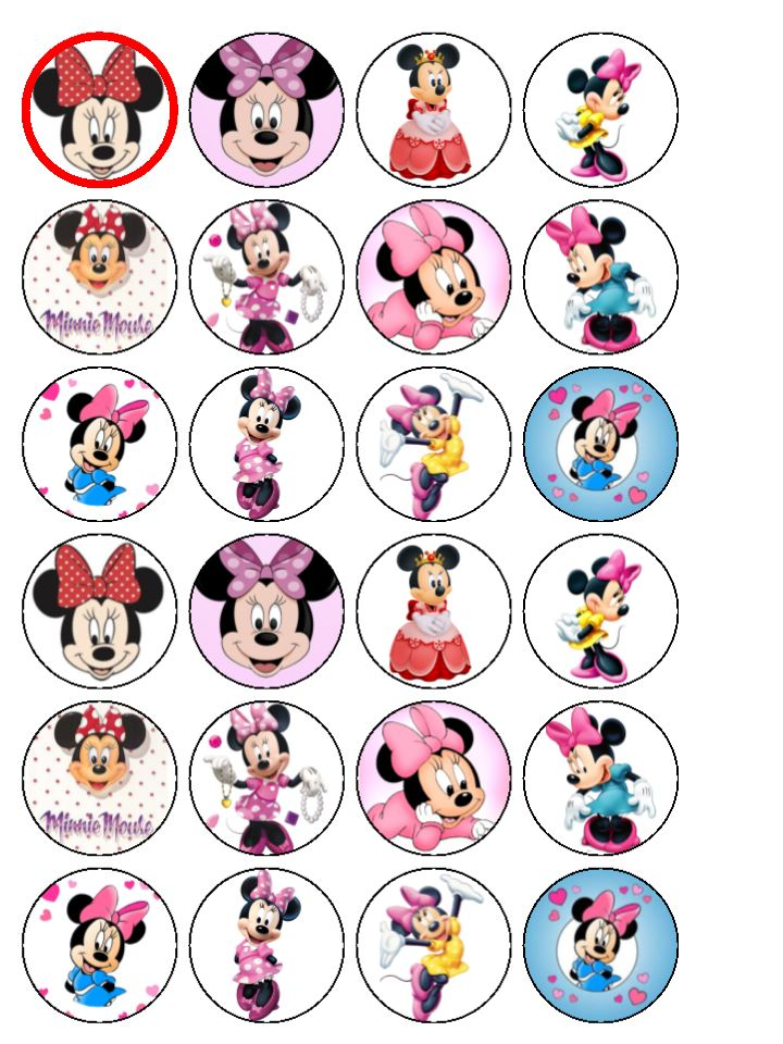 24 Minnie Mouse Edible Wafer Rice Cup Cake Toppers