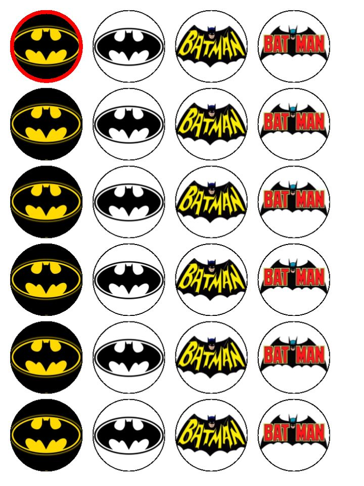 24 x Batman Logo Sign Party Edible Wafer Rice Paper Birthday Cake ...
