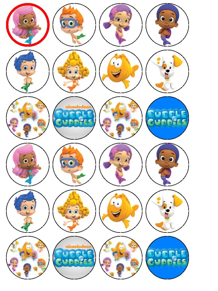 bubble guppies cake toppers 24 x guppies edible wafer cup cake bun cake toppers 2100
