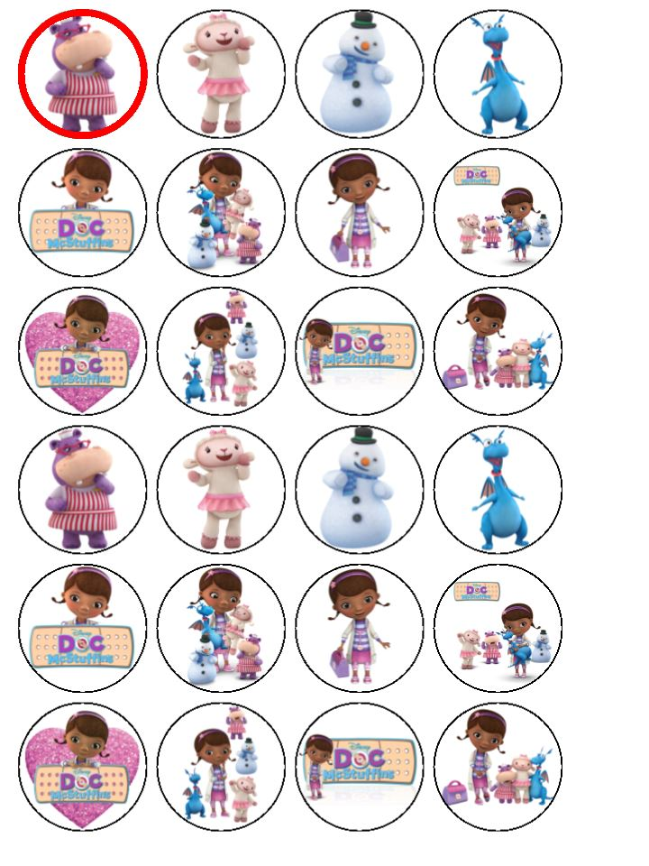 4718ceb2dd0b 24 x Doc McStuffins Wafer Rice Paper Cup Cake Top Toppers
