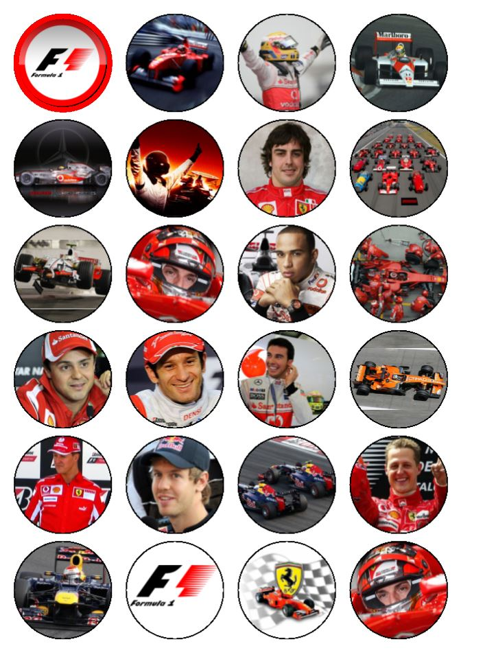 24 X Formula 1 F1 Edible Wafer Paper Cup Cake Top Toppers