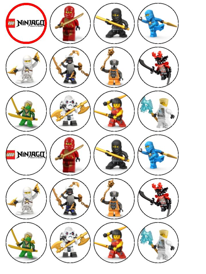 24 X Lego Ninjago Edible Rice Wafer Paper Cupcake Toppers