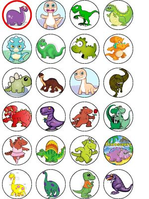 24 X Mixed Cartoon Dinosaurs Wafer Cake Top Toppers
