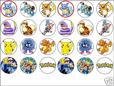 24 x MIXED POKEMON Cake Top Toppers -1 6 perfect size