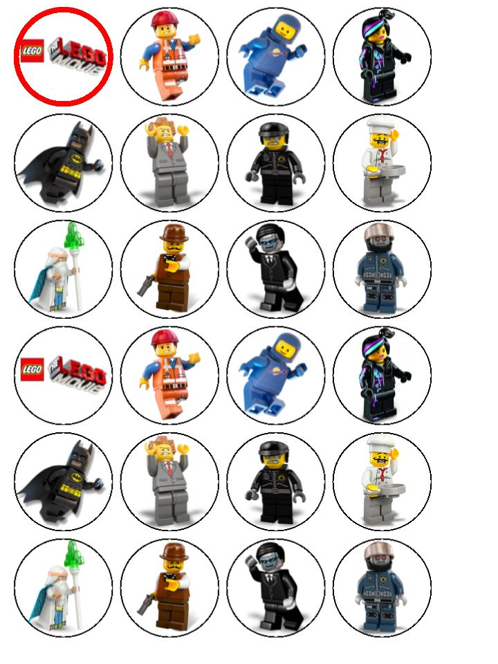 24 x The Lego Movie Edible Wafer Rice Paper Cup Cake Top Toppers