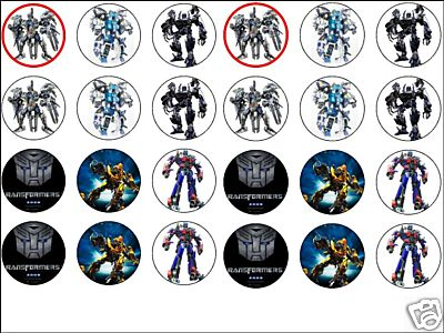 24x Mixed TRANSFORMERS 1.6 Wafer Cup Cake Toppers