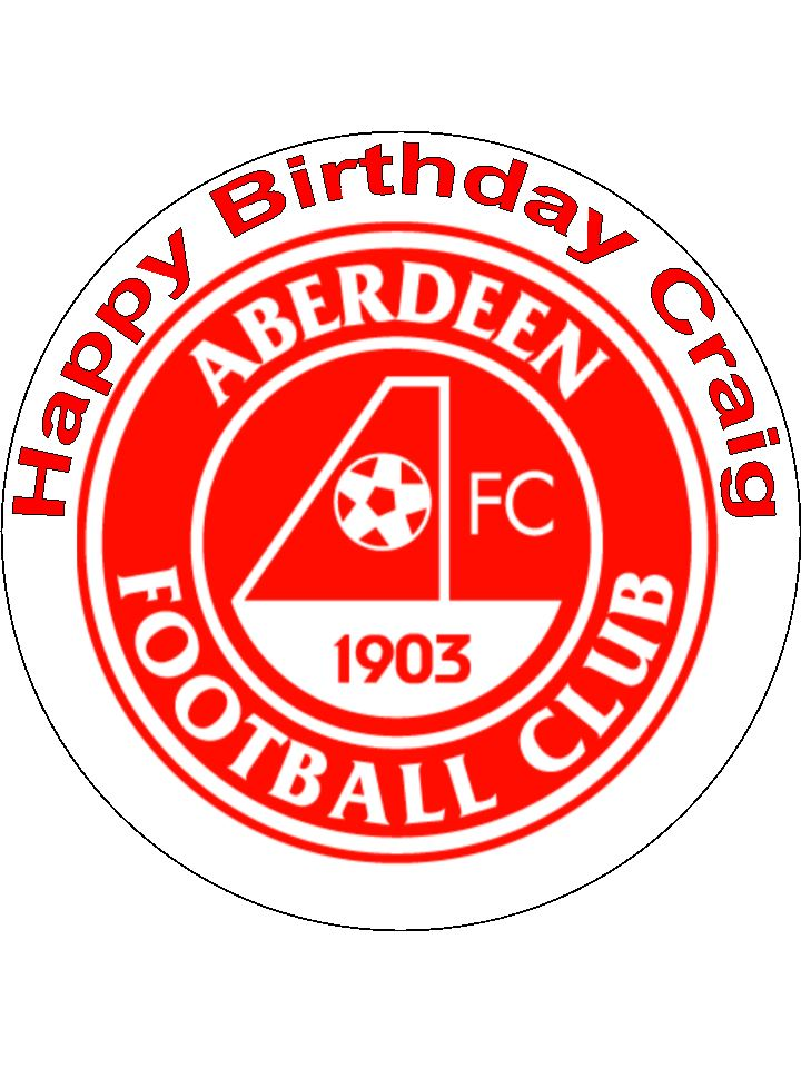 75 Aberdeen Fc Edible Icing Or Wafer Football Cake Topper