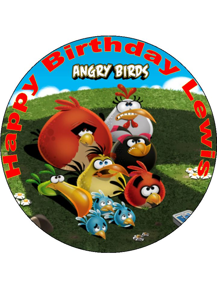 7 5 Angry Birds 2 Personalised Edible Icing Or Wafer Paper