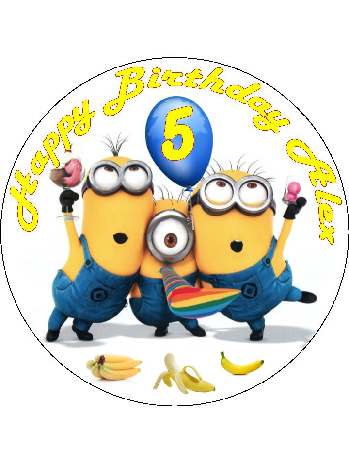 Astounding 7 5 Despicable Me Minions Party Edible Icing Or Wafer Birthday Personalised Birthday Cards Cominlily Jamesorg