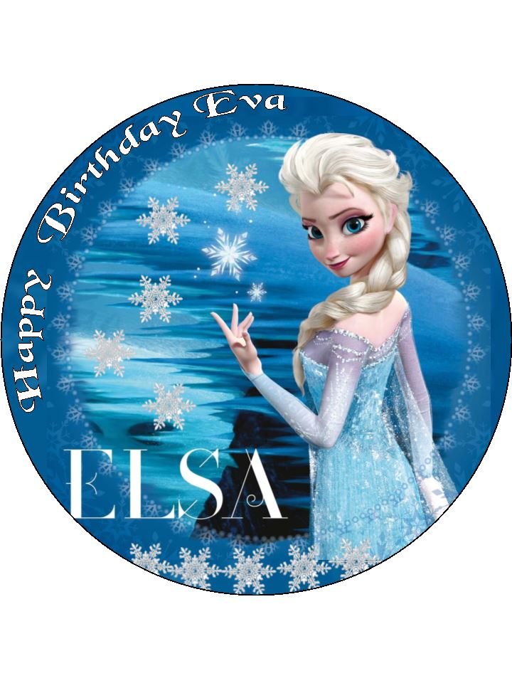 7 5 elsa disney frozen personalised edible icing or wafer cake top topper
