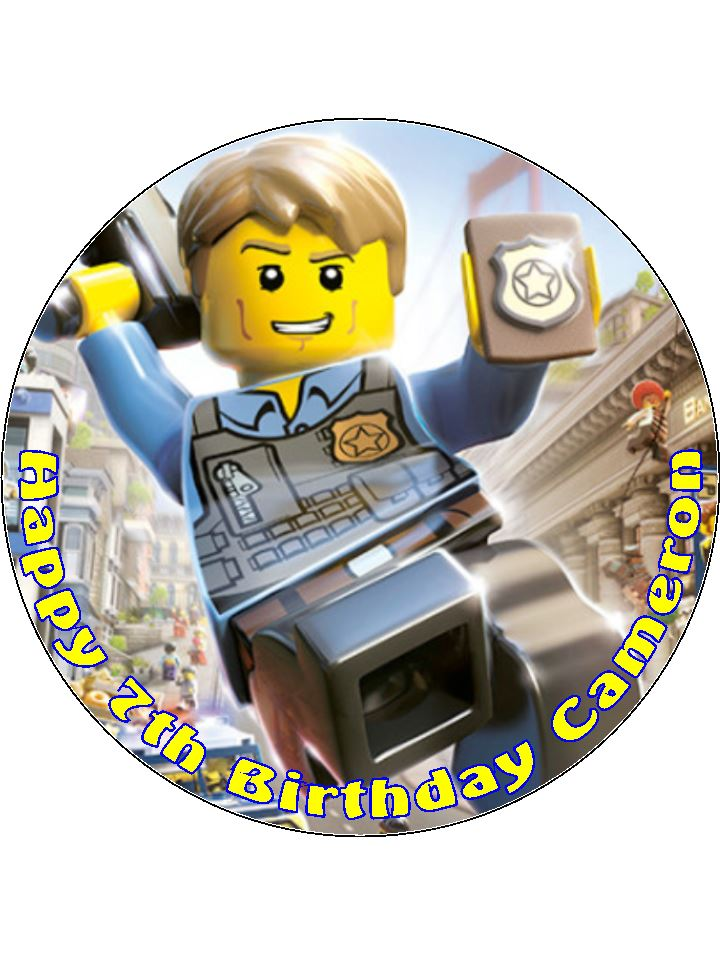 Incredible 7 5 Lego City Police Personalised Edible Icing Or Wafer Birthday Funny Birthday Cards Online Overcheapnameinfo