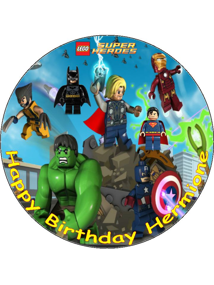 7 5 Lego Super Heroes Superheroes Personalised Edible
