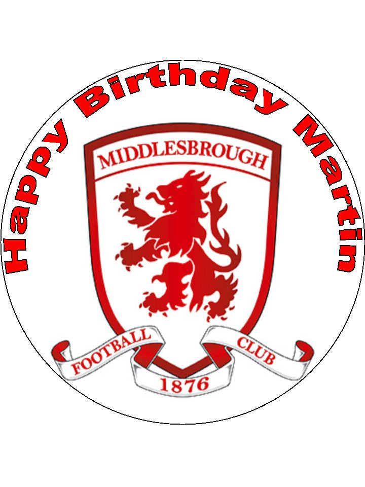 7 5 middlesbrough football club edible icing or wafer cake topper boro