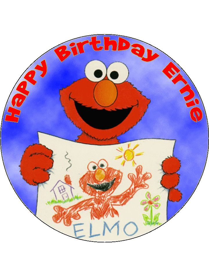 75 Personalised Elmo Edible Icing Or Wafer Birthday Cake TopperSesame Street
