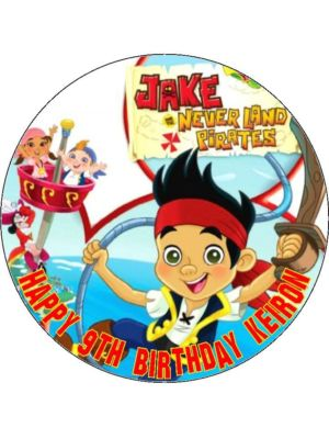 75 Personalised Jake And The Neverland Pirates Edible Icing Or Wafer Cake Top Topper New 302 P